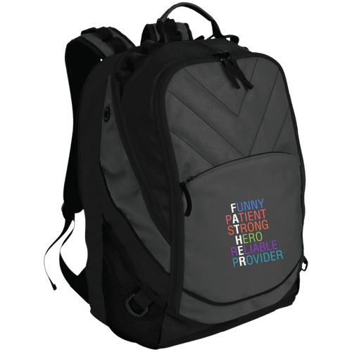 Designs by MyUtopia Shout Out:Descriptions of Father Anagram Embroidered  Laptop Computer Backpack,Dark Charcoal/Black / One Size,Bags