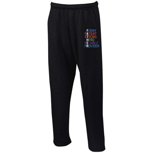 Designs by MyUtopia Shout Out:Descriptions of Father Anagram Embroidered Open Bottom Sweatpants with Pockets,Black / S,Pants