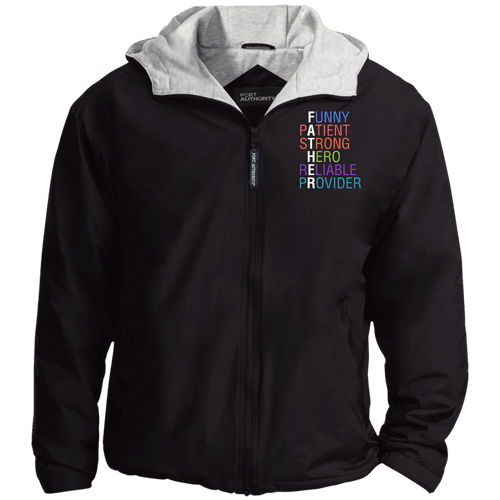 Designs by MyUtopia Shout Out:Descriptions of Father Anagram Embroidered Team Jacket,Black/Light Oxford / X-Small,Jackets