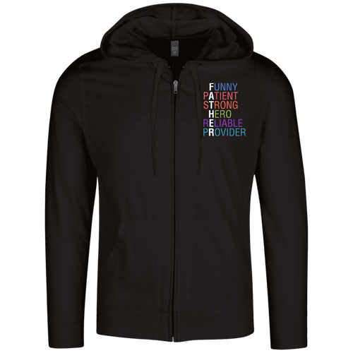Designs by MyUtopia Shout Out:Descriptions of Father Anagram Lightweight Full Zip Hoodie,Black / X-Small,Sweatshirts
