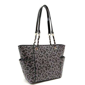 Designs by MyUtopia Shout Out:Diamond Heart Leopard and Sugar Skull Print Vegan Leather Shoulder Purse Totebag,Grey/Black,tote bag purse