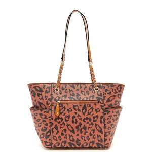 Designs by MyUtopia Shout Out:Diamond Heart Leopard and Sugar Skull Print Vegan Leather Shoulder Purse Totebag
