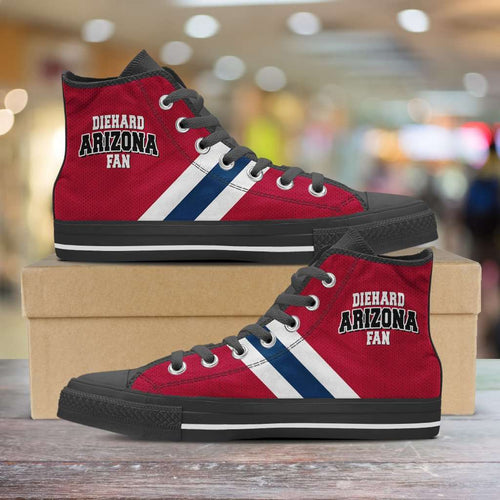 Designs by MyUtopia Shout Out:Diehard Arizona Wildcats Fan Canvas High Top Shoes,Men's / Mens US 5 (EU38) / Cardinal Red/Blue,High Top Sneakers