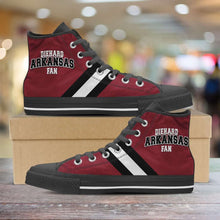 Load image into Gallery viewer, Designs by MyUtopia Shout Out:Diehard Arkansas Fan Canvas High Top Shoes,Men's / Mens US 5 (EU38) / Red/White/Black,High Top Sneakers