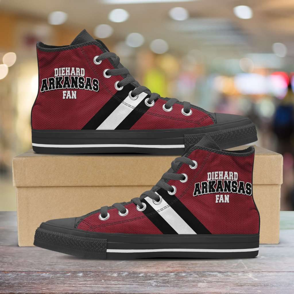 Designs by MyUtopia Shout Out:Diehard Arkansas Fan Canvas High Top Shoes,Men's / Mens US 5 (EU38) / Red/White/Black,High Top Sneakers