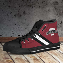 Load image into Gallery viewer, Designs by MyUtopia Shout Out:Diehard Arkansas Fan Canvas High Top Shoes