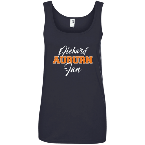 Designs by MyUtopia Shout Out:Diehard Auburn Fan Anvil Ladies' 100% Ringspun Cotton Tank Top - Navy Blue,Navy / S,Tank Tops