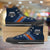 Designs by MyUtopia Shout Out:Diehard Auburn Fan Canvas High Top Shoes,Men's / Mens US 5 (EU38) / Blue/Orange/Light Blue,High Top Sneakers