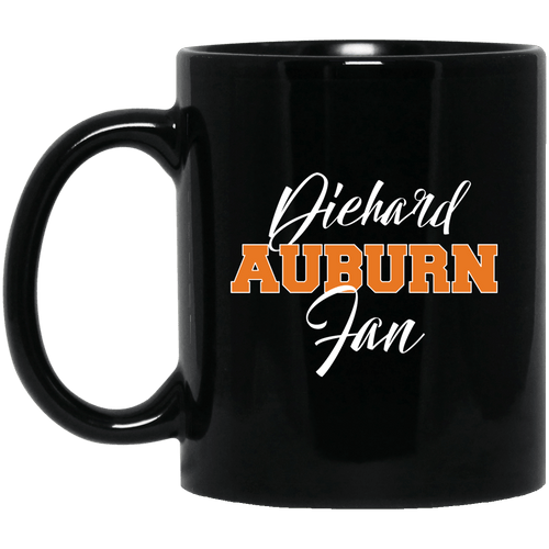 Designs by MyUtopia Shout Out:Diehard Auburn Fan Ceramic Coffee Mug - Black,11 oz / Black,Ceramic Coffee Mug