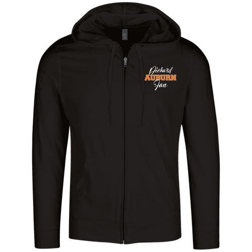 Designs by MyUtopia Shout Out:Diehard Auburn Fan Embroidered District Lightweight Full Zip Hoodie,Black / X-Small,Sweatshirts