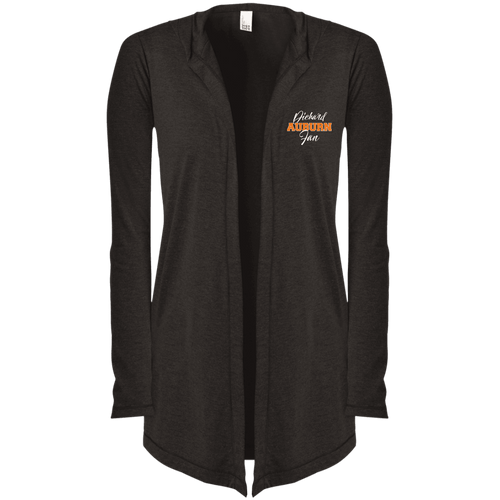Designs by MyUtopia Shout Out:Diehard Auburn Fan Embroidered District Women's Hooded Cardigan,Black Frost / X-Small,Jackets