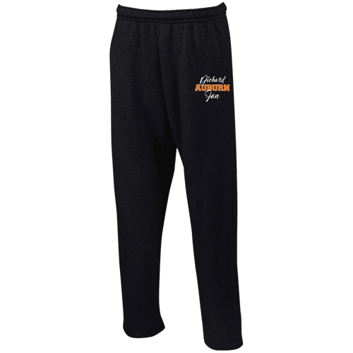 Designs by MyUtopia Shout Out:Diehard Auburn Fan Embroidered Gildan Open Bottom Sweatpants with Pockets,Black / S,Pants