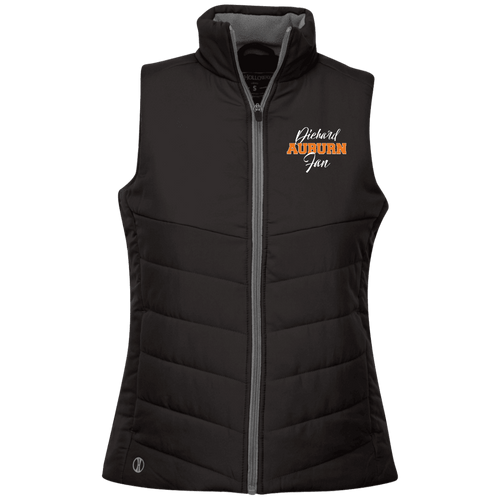 Designs by MyUtopia Shout Out:Diehard Auburn Fan Embroidered Holloway Ladies' Quilted Vest,Black / X-Small,Jackets