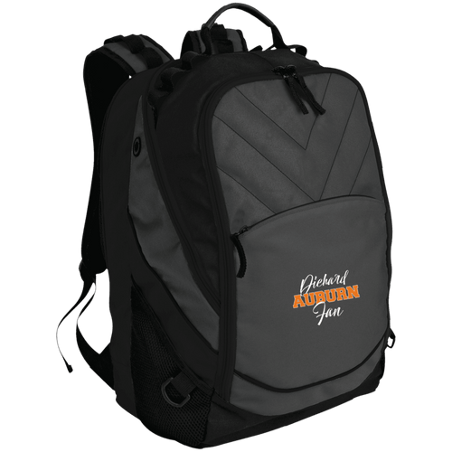 Designs by MyUtopia Shout Out:Diehard Auburn Fan Embroidered Port Authority Laptop Computer Backpack,Dark Charcoal/Black / One Size,Backpacks
