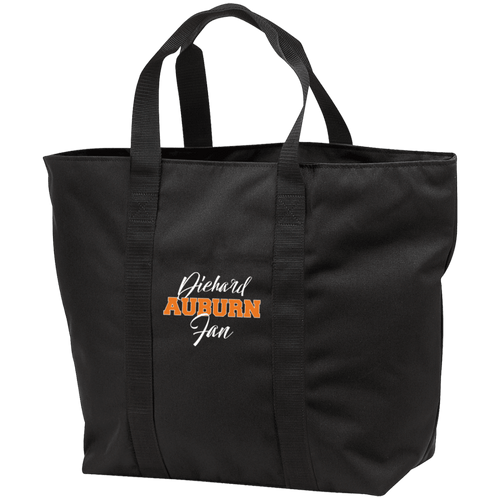 Designs by MyUtopia Shout Out:Diehard Auburn Fan Embroidered Port & Co. All Purpose Tote Bag w Zipper Closure and side pocket,Black/Black / One Size,Totebag