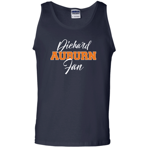 Designs by MyUtopia Shout Out:Diehard Auburn Fan Gildan 100% Cotton Tank Top - Navy Blue,Navy / S,Tank Tops