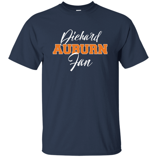 Designs by MyUtopia Shout Out:Diehard Auburn Fan Gildan Ultra Cotton T-Shirt -Navy Blue,Navy / S,Adult Unisex T-Shirt