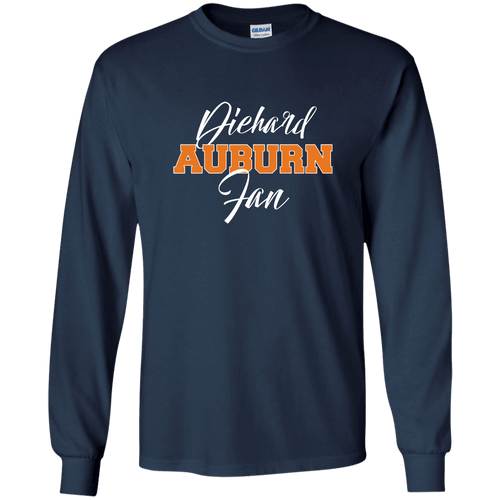 Designs by MyUtopia Shout Out:Diehard Auburn Fan Ultra Cotton Long Sleeve T-Shirt - Navy Blue,Navy / S,Long Sleeve T-Shirts