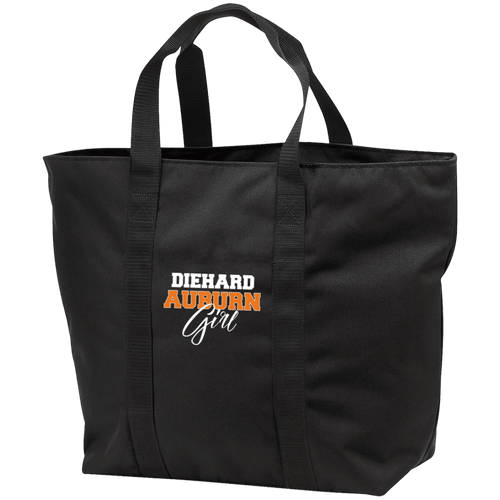 Designs by MyUtopia Shout Out:Diehard Auburn Girl Embroidered Port & Co. All Purpose Tote Bag w Zipper Closure and side pocket,Black/Black / One Size,Totebag