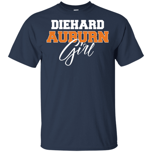 Designs by MyUtopia Shout Out:Diehard Auburn Girl Gildan Ultra Cotton T-Shirt -Navy Blue,Navy / S,Adult Unisex T-Shirt
