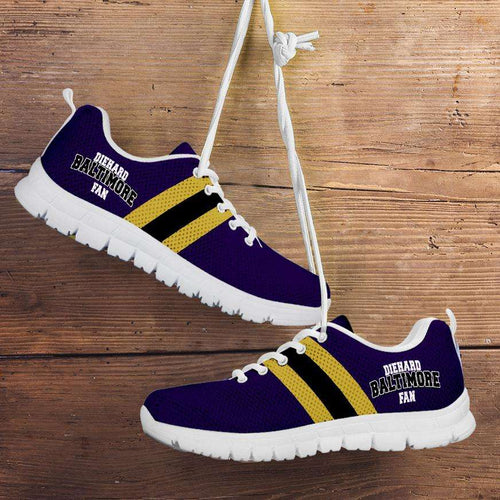 Designs by MyUtopia Shout Out:Diehard Baltimore Fan Running Shoes,Kid's / 11 CHILD (EU28) / Violet/Yellow,Running Shoes