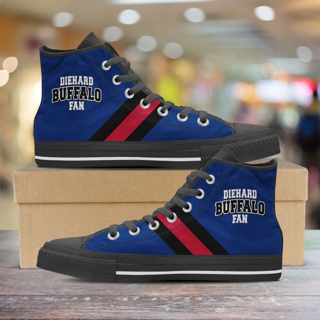 Designs by MyUtopia Shout Out:Diehard Buffalo Fan Canvas High Top Shoes,Men's / Mens US 5 (EU38) / Blue/Red/Black,High Top Sneakers