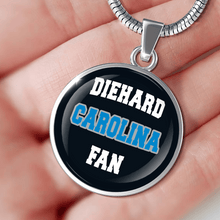Load image into Gallery viewer, Designs by MyUtopia Shout Out:Diehard Carolina Fan Handcrafted Necklace,Necklace w/ adjustable snake-chain / Black,Necklace