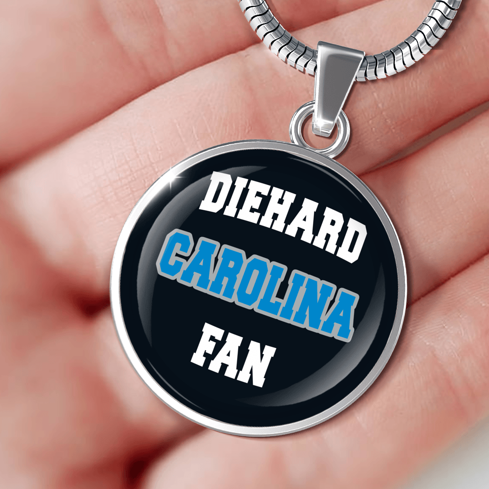 Designs by MyUtopia Shout Out:Diehard Carolina Fan Handcrafted Necklace,Necklace w/ adjustable snake-chain / Black,Necklace