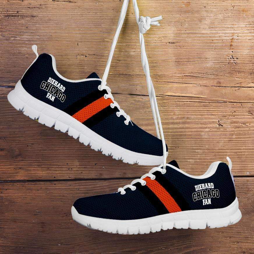 Designs by MyUtopia Shout Out:Diehard Chicago Fan Running Shoes,Kid's / 11 CHILD (EU28) / White/Navy Blue,Running Shoes