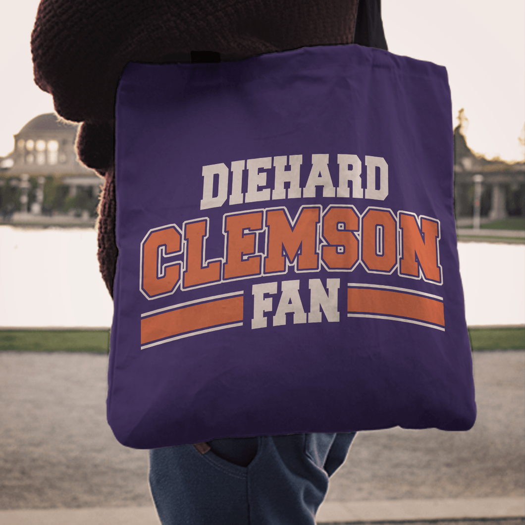 Designs by MyUtopia Shout Out:Diehard Clemson Fan Fabric Totebag Reusable Shopping Tote