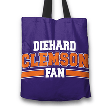 Load image into Gallery viewer, Designs by MyUtopia Shout Out:Diehard Clemson Fan Fabric Totebag Reusable Shopping Tote