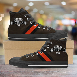 Designs by MyUtopia Shout Out:Diehard Cleveland Fan Canvas High Top Shoes,Men's / Mens US 5 (EU38) / Brown/Orange,High Top Sneakers