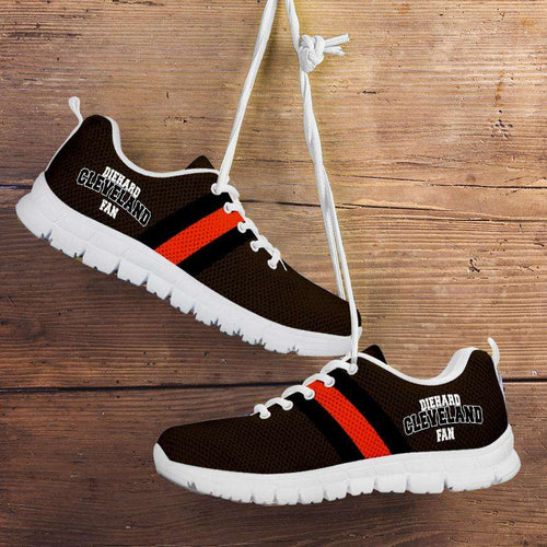 Designs by MyUtopia Shout Out:Diehard Cleveland Fan Running Shoes,CHILD 11 (EU28) / Brown/Orange,Running Shoes