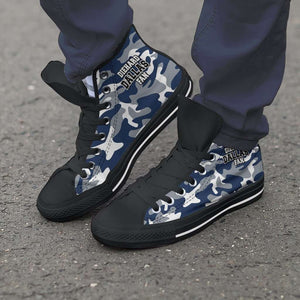 Designs by MyUtopia Shout Out:Diehard Dallas Fan Camo Print Canvas High Top Shoes