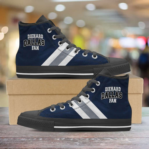 Designs by MyUtopia Shout Out:Diehard Dallas Fan Canvas High Top Shoes,Men's / Mens US 5 (EU38) / Blue/White/Grey,High Top Sneakers