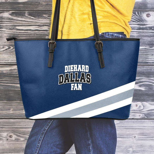 Designs by MyUtopia Shout Out:Diehard Dallas Fan Faux Leather Totebag Purse,Medium (10 x 16 x 5) / Blue/White/Grey,tote bag purse
