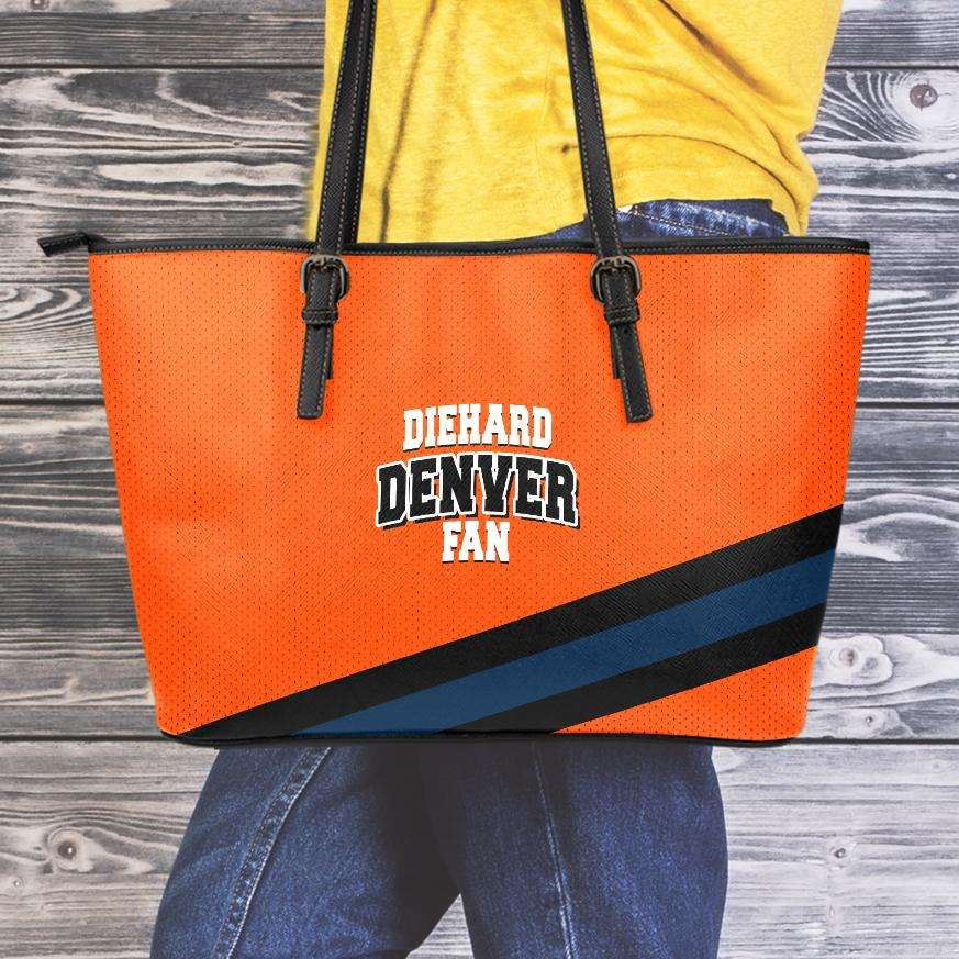 Designs by MyUtopia Shout Out:Diehard Denver Fan Faux Leather Totebag Purse,Medium (10 x 16 x 5) / Orange,tote bag purse