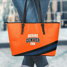 Load image into Gallery viewer, Designs by MyUtopia Shout Out:Diehard Denver Fan Faux Leather Totebag Purse,Large (11 x 17 x 6) / Orange,tote bag purse