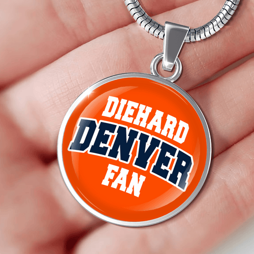 Designs by MyUtopia Shout Out:Diehard Denver Fan Handcrafted Necklace,Adjustable Snake Chain / Orange,Necklace