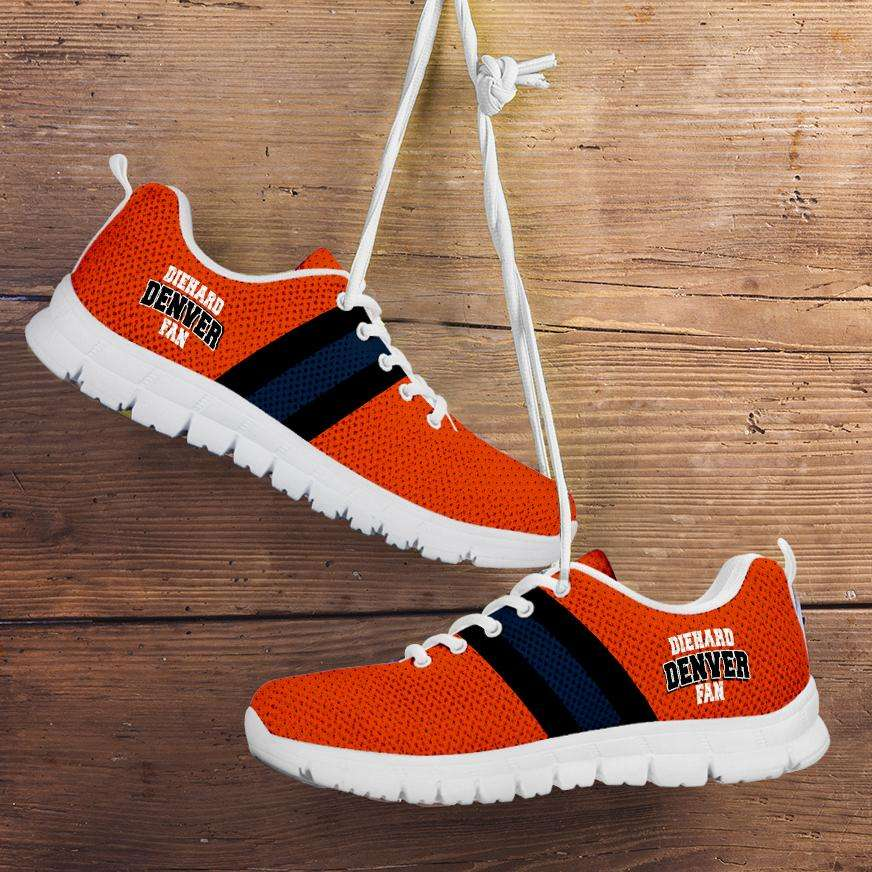 Designs by MyUtopia Shout Out:Diehard Denver Fan Running Shoes,Kid's / 11 CHILD (EU28) / Orange,Running Shoes