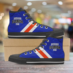 Designs by MyUtopia Shout Out:Diehard Florida Gators Fan Canvas High Top Shoes,Men's / Mens US 5 (EU38) / Blue/Orange,High Top Sneakers