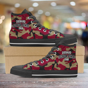 Designs by MyUtopia Shout Out:Diehard Florida State Fan Camo Print Canvas High Top Shoes, Garnet,Mens / Mens US 5 (EU38) / Camo Print,High Top Sneakers