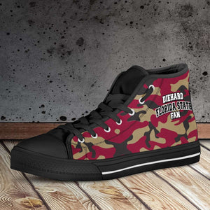 Designs by MyUtopia Shout Out:Diehard Florida State Fan Camo Print Canvas High Top Shoes, Garnet