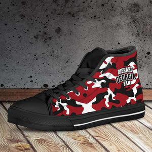Designs by MyUtopia Shout Out:Diehard Georgia Fan Camo Canvas High Top Shoes