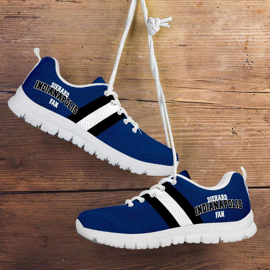 Designs by MyUtopia Shout Out:Diehard Indianapolis Fan Running Shoes,Kid's / 11 CHILD (EU28) / Blue/White,Running Shoes