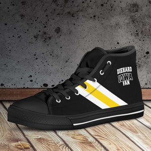 Designs by MyUtopia Shout Out:Diehard Iowa Fan Canvas High Top Shoes