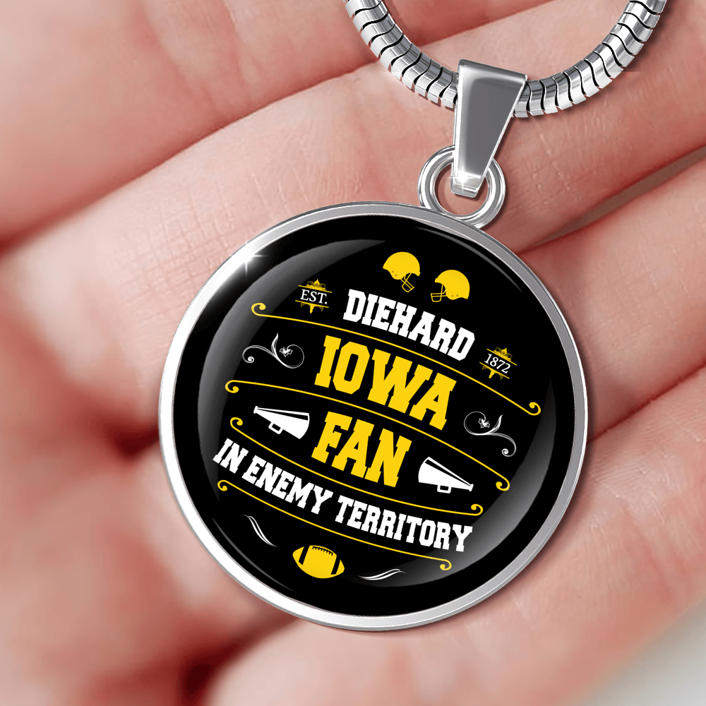 Designs by MyUtopia Shout Out:Diehard Iowa Fan in Enemy Territory Handmade Necklace,Luxury Necklace w/ adjustable snake-chain / Silver,Necklace