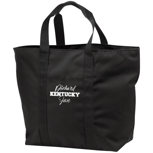 Designs by MyUtopia Shout Out:Diehard Kentucky Fan Embroidered Port & Co. All Purpose Tote Bag w Zipper Closure and side pocket,Black/Black / One Size,Totebag