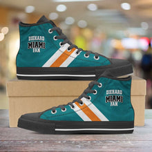 Load image into Gallery viewer, Designs by MyUtopia Shout Out:Diehard Miami Fan Canvas High Top Shoes,Men's / Mens US 5 (EU38) / Aqua Green/Orange,High Top Sneakers