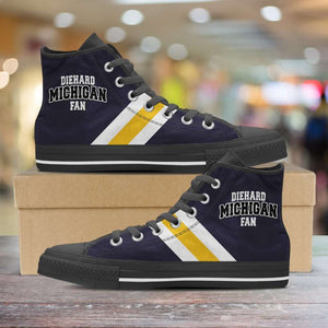 Designs by MyUtopia Shout Out:Diehard Michigan Fan Canvas High Top Shoes - Blue and Gold,Men's / Mens US 5 (EU38) / Blue/Yellow,High Top Sneakers